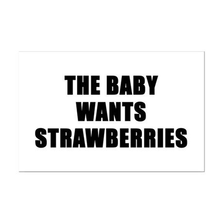 The baby wants strawberries Mini Poster Print
