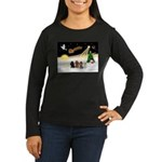 Night Flight/4 Poodles Women's Long Sleeve Dark T-
