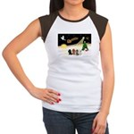 Night Flight/4 Poodles Women's Cap Sleeve T-Shirt