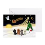 Night Flight/4 Poodles Greeting Card
