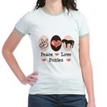Peace Love Ponies Jr. Ringer T-Shirt