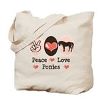 Peace Love Ponies Tote Bag