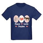 Peace Love Ponies Kids Dark T-Shirt