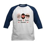 Peace Love Ponies Kids Baseball Jersey