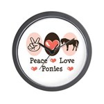 Peace Love Ponies Wall Clock