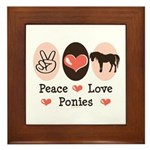Peace Love Ponies Framed Tile