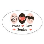Peace Love Ponies Oval Sticker (50 pk)