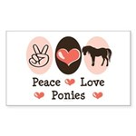 Peace Love Ponies Rectangle Sticker 50 pk)
