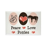 Peace Love Ponies Rectangle Magnet (100 pack)