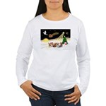 Night Flight/5 Yorkies Women's Long Sleeve T-Shirt