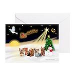 Night Flight/5 Yorkies Greeting Cards (Pk of 10)