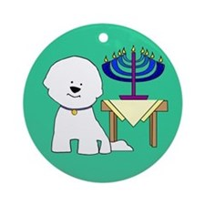 Bichon Menorah Ornament