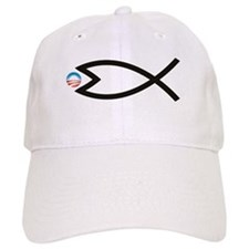 Jesus Fish Eats Obamessiah Baseball Cap