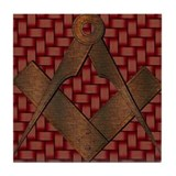 The Old Masonic Symbol Tile Coaster