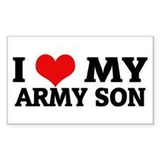 I Love My Army Son Rectangle Decal