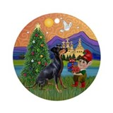 Xmas Fantasy Manchester Terrier Keepsake (Round)