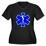 Star of Life Women's Plus Size V-Neck Dark T-Shirt