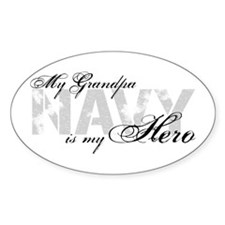 Grandpa is my Hero NAVY Oval Decal