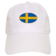 Oval Swedish Flag Baseball Cap