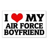 I Love My Air Force Boyfriend Sticker (Rectangular