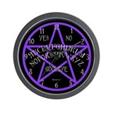 Purple Pentagram Board Wall Clock