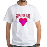Swim for Life White T-Shirt