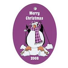 Purple Skiing Penguin Christmas Oval Ornament