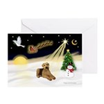 XmasSunrise-2 Airedales Greeting Card