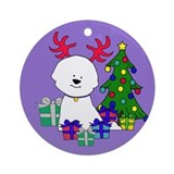 Bichon Reindeer and Tree Ornament