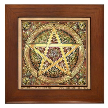 Golden Pentacle Framed Tile