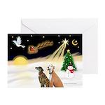 Night Flight/2 Greyhounds Greeting Cards(Pk of 10)