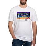 XmasSunrise/Corgi (BM) Fitted T-Shirt