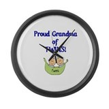 Grandma of Twins Large Wall Clock