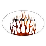 Firefighter Tribal Flames Oval Sticker