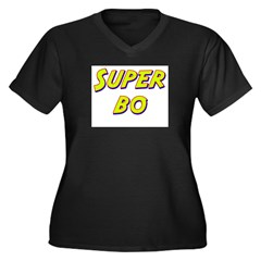 Super bo Women's Plus Size V-Neck Dark T-Shirt