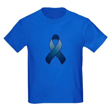 Dark Blue Awareness Ribbon Kids Dark T-Shirt