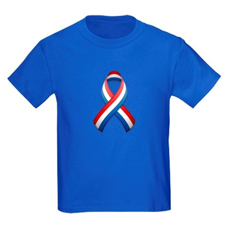Red White & Blue Ribbon Kids Dark T-Shirt