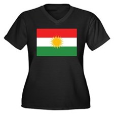 Kurdish Flag Women's Plus Size V-Neck Dark T-Shirt