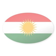 Kurdish Flag Oval Sticker (10 pk)