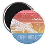 Vintage Bay View Magnet (round)