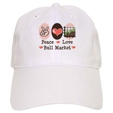 Peace Love Bull Market Baseball Cap
