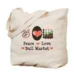 Peace Love Bull Market Tote Bag