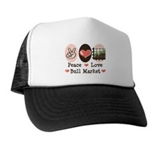 Peace Love Bull Market Trucker Hat