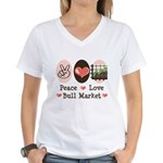 Peace Love Bull Market Women's V-Neck T-Shirt