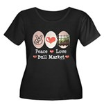 Peace Love Bull Market Women's Plus Size Scoop Nec