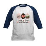 Peace Love Bull Market Kids Baseball Jersey
