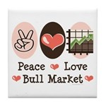 Peace Love Bull Market Tile Coaster