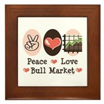 Peace Love Bull Market Framed Tile