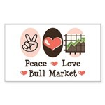 Peace Love Bull Market Rectangle Sticker 50 pk)