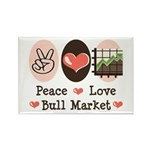 Peace Love Bull Market Rectangle Magnet (100 pack)